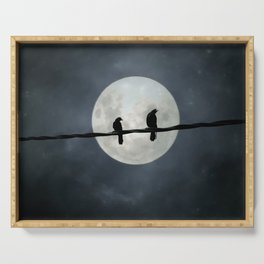 Two Crows In The Light Of A Silvery Moon Serving Tray