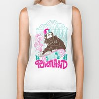 sasquatch Biker Tanks featuring Portland Sasquatch  by tim weakland