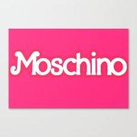 moschino Canvas Prints featuring Moschino Barbie by RickyRicardo787