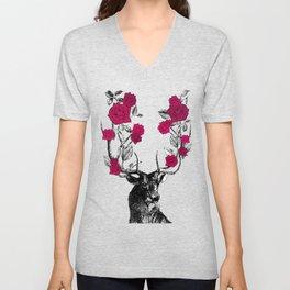 The Stag and Roses | Deer and Flowers | Red | Vintage Stag | Vintage Deer | Antlers | Woodland | Unisex V-Neck