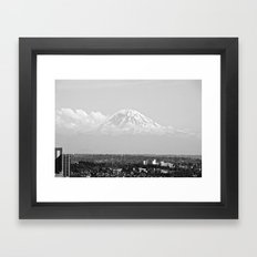 Hovering Mt Rainier in Mono Framed Art Print