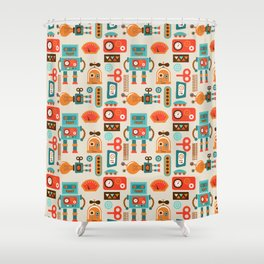 Funky Robot Shower Curtain