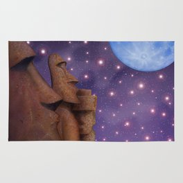 Moai & Moon in Universe Rug