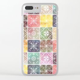 Trendy White Geometric Ornament Colorful Tile Art Clear iPhone Case