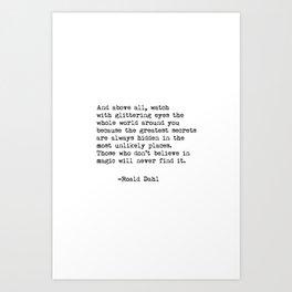 Roald Dahl Glittering Eyes Art Print
