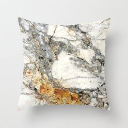 White and Rust Marble Slab Throw Pillow