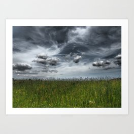 Grassland With Dark Clouds, Germany - Landscape Photography Art Print