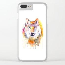 Fox Watercolour Art Clear iPhone Case