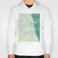 vintage map Hoodies featuring Chicago Map Blue Vintage by City Art Posters