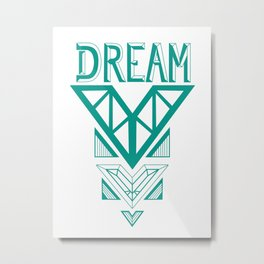 Dream- Turquoise arrow Metal Print