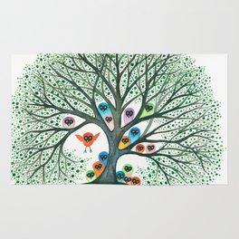 Teton Owls in Tree Rug