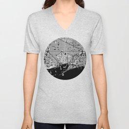 Barcelona city map black and white Unisex V-Neck