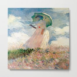 Claude Monet's Woman with a Parasol, Study Metal Print