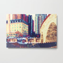 Minneapolis, Minnesota Skyline Stone Arch Bridge Metal Print