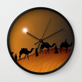Camel Train Procession at Sunset Wall Clock