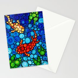 Pure Koi Joi - Mosaic Fish Art Painting by Sharon Cummings Stationery Cards