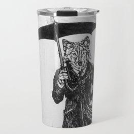 Wolf with Umbrella Travel Mug