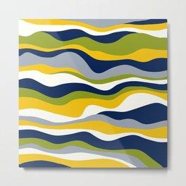 Cordillera Stripe: Yellow Navy Combo Metal Print