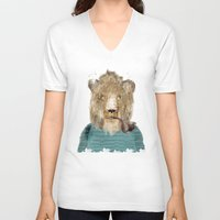 jeep V-neck T-shirts featuring jeep the lion by bri.buckley