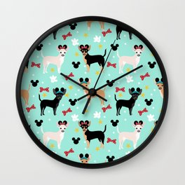 Chihuahua theme park lover dog breed pattern gifts Wall Clock