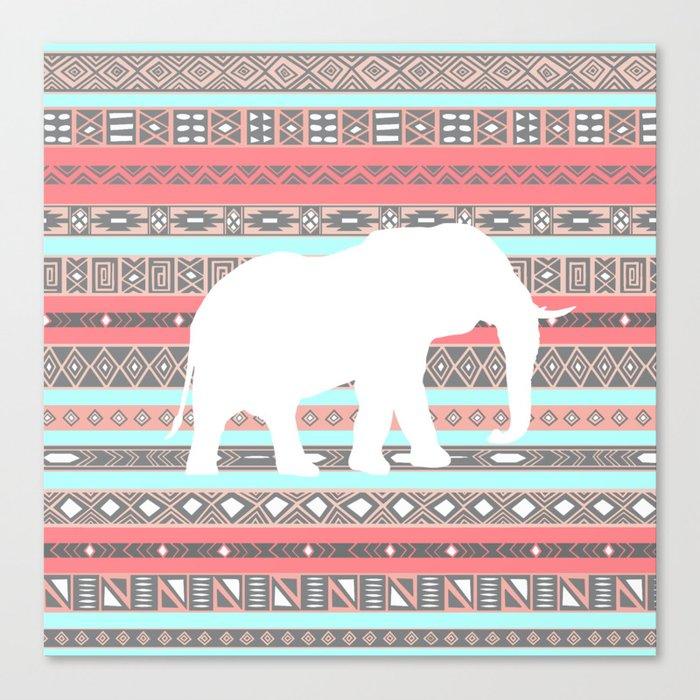 Elephant Aztec Pattern Pastel Peach Aqua Print Canvas