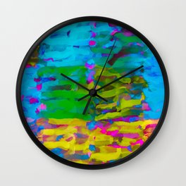 psychedelic graffiti painting abstract in blue yellow green pink Wall Clock