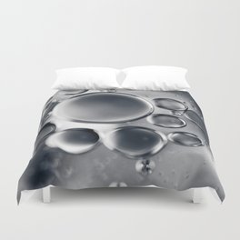 Silver Macro Photography Water Droplets Duvet Cover