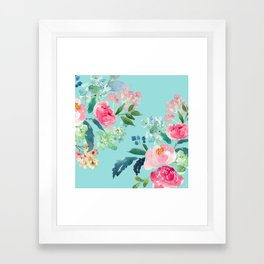 Aqua Blue Watercolor Pink Flowers Framed Art Print