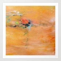 Light Orange Monet's Theme of Waterlilies Art Print