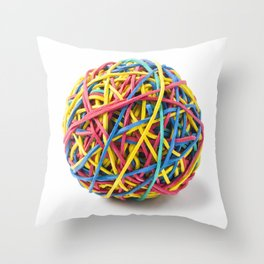 Colorful rubber band ball Throw Pillow