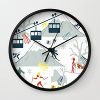 ski Wall Clocks featuring SKI LIFTS by BLUE VELVET DESIGNS