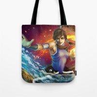 korra Tote Bags featuring Korra by Nikittysan
