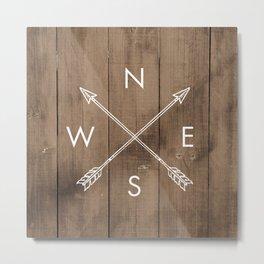 Compass Art Print, NSEW Art Print, Farmhouse Decor, Country Decor, Arrows, Crossed Arrows, Arrow Art Print, Kids Room Art Print, NSEW, Compass Directions, NSEW Poster, Faux Wood, Compass Metal Print