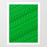 video game Art Prints featuring Video Game Controllers - Green by C.Rhodes Design