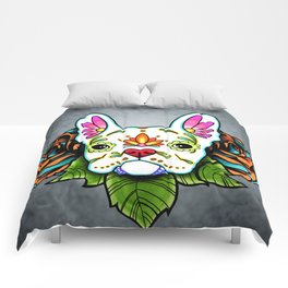 French Bulldog in White - Day of the Dead Sugar Skull Dog Comforters