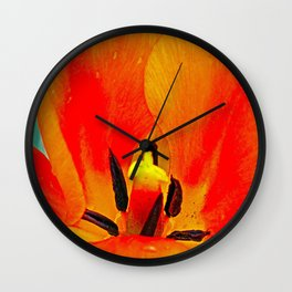 Orange Tulip Wall Clock