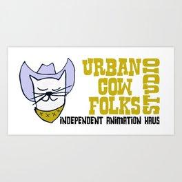 Urbancowfolks Studio Kitty Mustard Logo Art Print