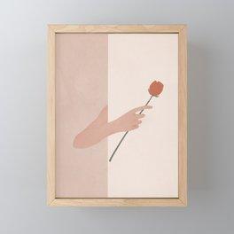 One Rose Flower Framed Mini Art Print