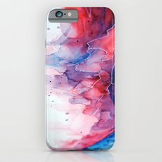 Watercolor magenta & cyan, abstract texture iPhone 6s Slim Case