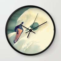 swan Wall Clocks featuring SWAN by Christina Lynn Williams