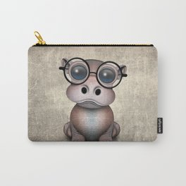 Cute Nerdy Baby Hippo Wearing Glasses Carry-All Pouch