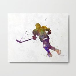 Skater with stick in watercolor Metal Print