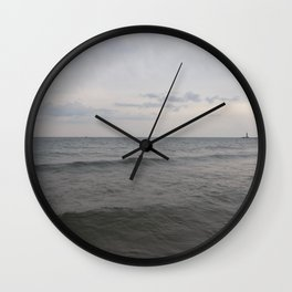 Distant Lighthouse on Lake Michigan Wall Clock