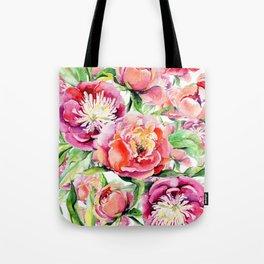Blush pink orange green hand painted watercolor floral Tote Bag