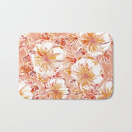 KOMBUCHA-CHA Orange Tropical Hibiscus Floral Bath Mat