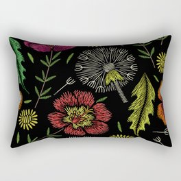 Embroidered Flowers on Black Pattern 04 Rectangular Pillow
