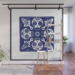 Talavera Mexican tile inspired bold Day of the Dead blue and white pattern Wall Mural
