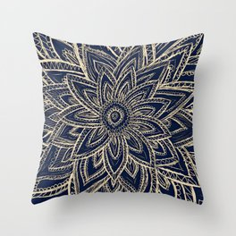 Cute Retro Gold abstract Flower Drawing  geometric Throw Pillow