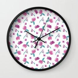 Beautiful Cute Flowers Pattern Print Wall Clock