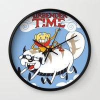 airbender Wall Clocks featuring Airbender Time by Kari Fry